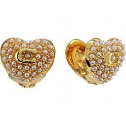 COACH Pearl Puff Heart Huggie Earrings