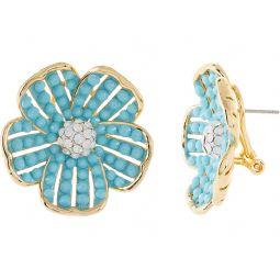 Kate Spade New York Glistening Petals Flower Statement Studs Earrings
