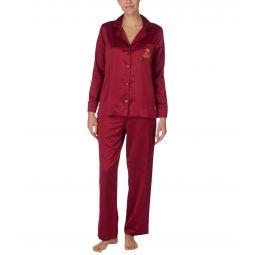 Satin Long Sleeve Notch Collar Long Pants Pajama Set