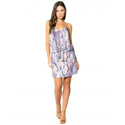 Blue Snake Adjustable Strappy Tie Front Mini Dress