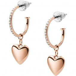 Hearts To You Rose Gold Tone Stainless Steel Hoop Earrings