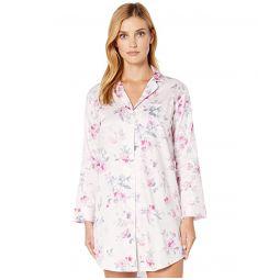 Sateen Woven Long Sleeve Pointed Notch Collar Sleepshirt