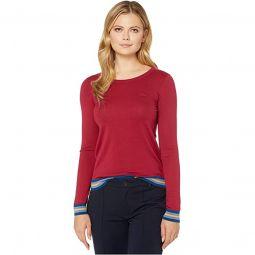 Long Sleeve Crew Neck Semi Fancy Cotton Silk Jersey Sweater