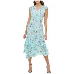 Tommy Hilfiger Virginia Floral Chiffon Flounce Hem Dress