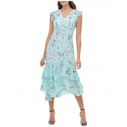 Virginia Floral Chiffon Flounce Hem Dress