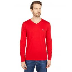 Lacoste Long Sleeve Pima Jersey V-Neck T-Shirt