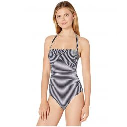 Textured Stripe Draped Underwire Strapless One-Piece Swimsuit