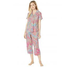 Short Sleeve Pointed Notch Collar Capri Pants Pajama Set