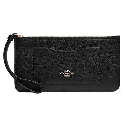 COACH Cross Grain Leather Zip Top Wallet