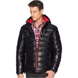 Faux Leather Faux Down Jacket