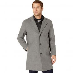 Laminated Wool Buttoned Coat w/ Lapel Collar