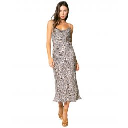 Cheetah Printed Cowl Neck Bias Midi Dress with Adjustable Strap