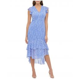 Coin Toss Chiffon Flounce Hem Dress
