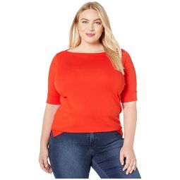 Plus Size Stretch Cotton Boat Neck Top
