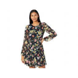 Tommy Hilfiger Printed Chiffon Godet Skirt Dress