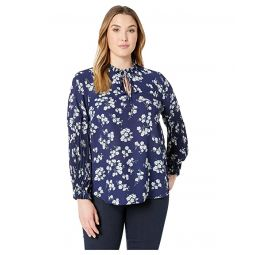 Plus Size Print Tie-Neck Georgette Top