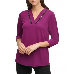 Stretch Crepe V-Neck Blouse with Studs