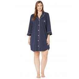 Plus Size Heritage Knits 3/4 Sleeve Classic Notch Collar Sleepshirt
