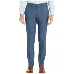 Stretch Sharkskin Plaid Slim Fit Flat Front Dress Pants