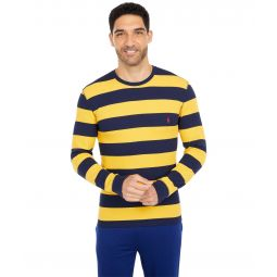 Midweight Waffle Rugby Stripe Long Sleeve Crew
