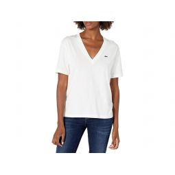 Womens Short Sleeve Boxy Fit V-neck T-shirt