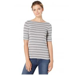 Striped Stretch Cotton Boat Neck Top