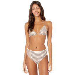 Sunray Stripe Hi-Waist Bikini Bottoms