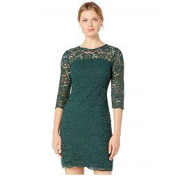 LAUREN Ralph Lauren Piazza Floral Lace Paymer 3u002F4 Sleeve Day Dress