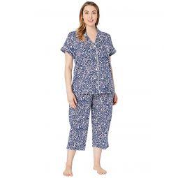 Plus Size Short Sleeve Notch Collar Capris Pajama Set