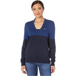 Long Sleeve V-Neck Color-Block Cotton Sweater