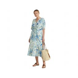 LAUREN Ralph Lauren Plus Size Paisley Linen-Blend Jersey Dress