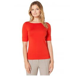 Stretch Cotton Boat Neck Top