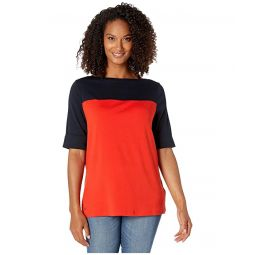 Plus Size Color Block Boat Neck Top