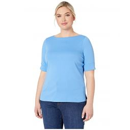 Plus Size Cotton Boat Neck Top