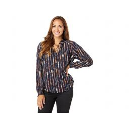 Tommy Hilfiger Long Sleeve Chain Print Tie Neck Blouse