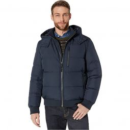Soft Touch Hooded Down Bomber Jacket