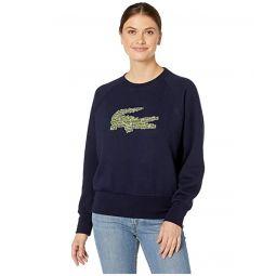 Lacoste Long Sleeve All Over Croc Brush Fleeced Sweatshirt