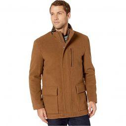 Wool Plush Coat with Faux Fur Inner Collar