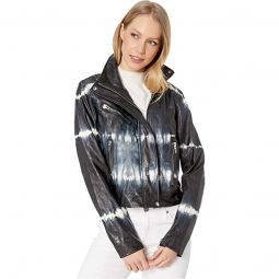 Faux Leather Tie-Dye Jacket in Bliss Field