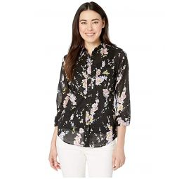 Petite 3/4 Sleeve Floral-Print Cotton Shirt