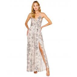 Snake Printed Adjustable Strappy Wrap Maxi Dress