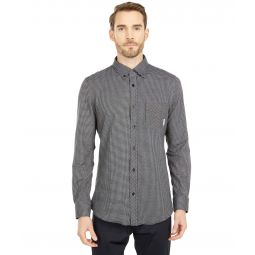 Long Sleeve Gingham Jacquard Knitted Shirt