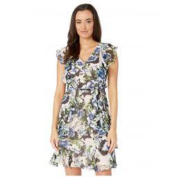 Tommy Hilfiger Carmen Floral Chiffon Flutter Sleeve Dress