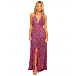 Vamos A Cabos Plunge Halter Long Dress Cover-Up