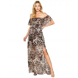 Cheetah Printed Off-the-Shoulder Maxi Dress with Smocking Detail At the Bust