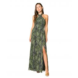 Olive Snake Printed Maxi Dress with Halter Tie Neck