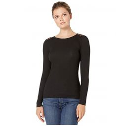Suede-Detail Waffle Knit Top