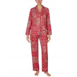 Sateen Long Sleeve Notch Collar Pajama Set
