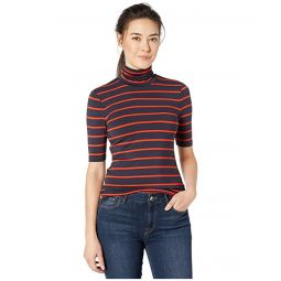 Petite Striped Stretch Turtleneck Top
