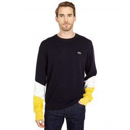 Lacoste Long Sleeve Color-Blocked Double Face Crew Neck Sweater